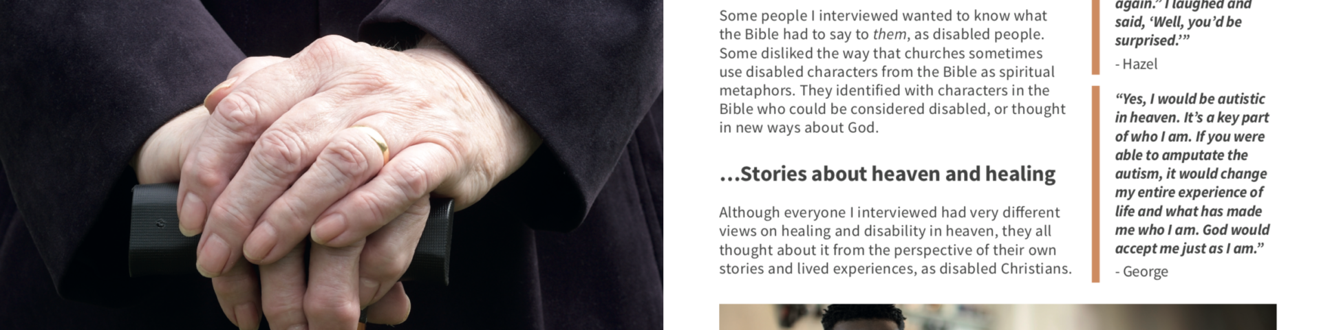 An image of pages from the research booklet, featuring an older person's hand and some text